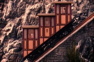 The funicular railway transporting guests to the entrance of The Grand Budapest Hotel was a delightful little detail.
