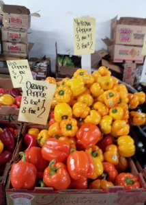 Beautiful, inexpensive locally grown peppers at Trails End Farmers' Market
