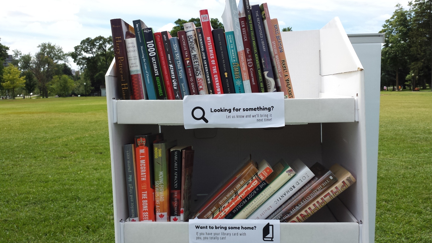 Pop Up Library cardboard shelf
