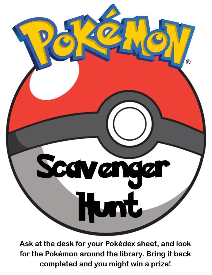 Pokemon Scavenger Hunt In The Library