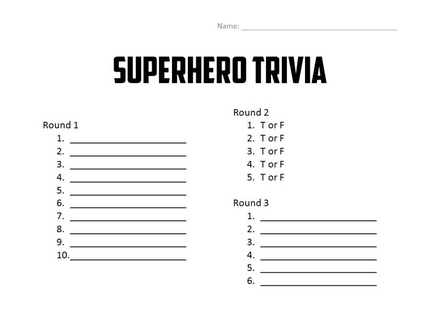 trivia sheet
